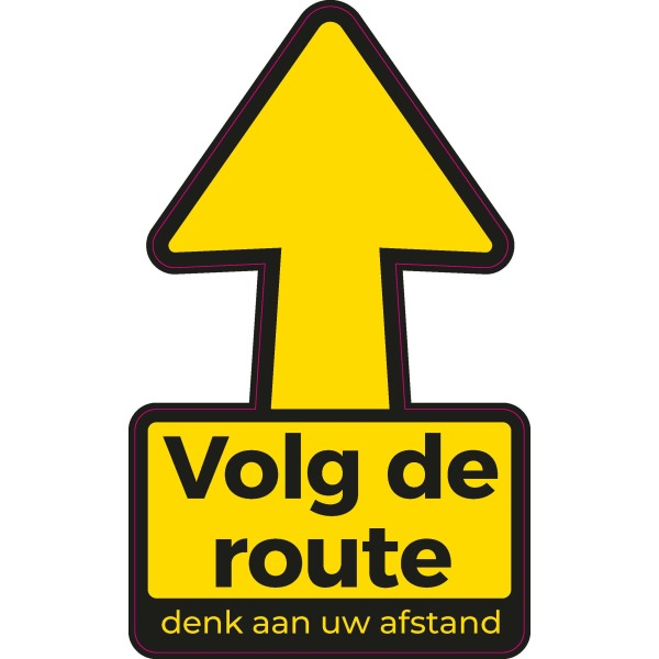 Routing stickers, pijl met 1,5 m afstand. 30 x 30cm